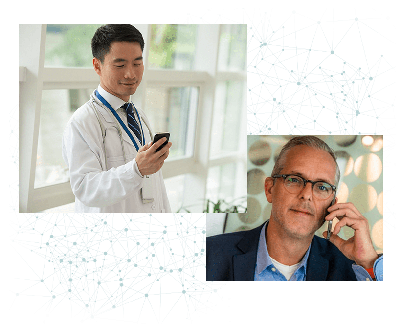 Customer service agent speaking with doctor