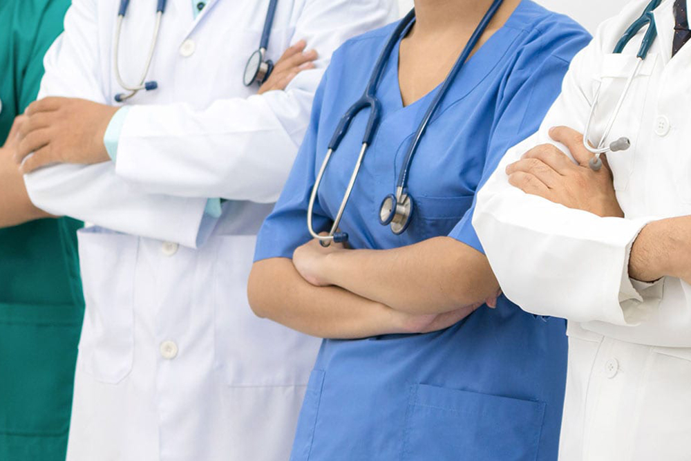 Doctors in a line