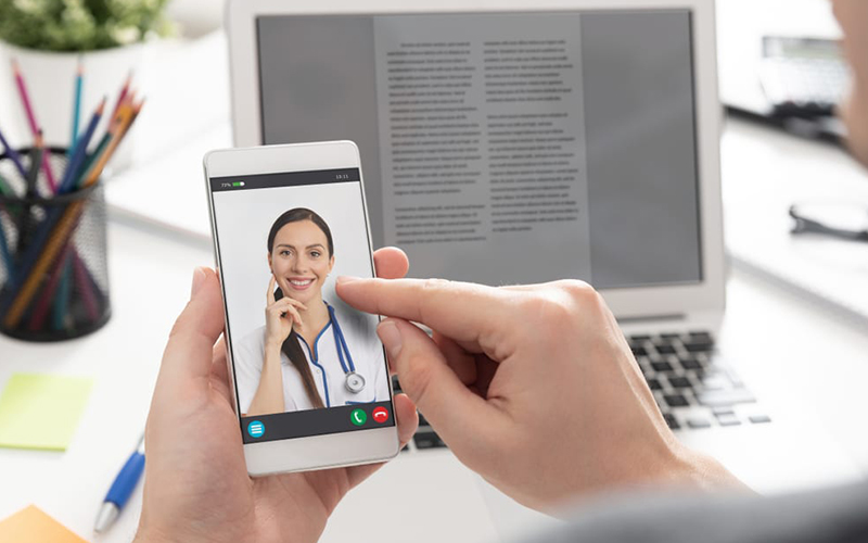 Doctor speaking on a video call