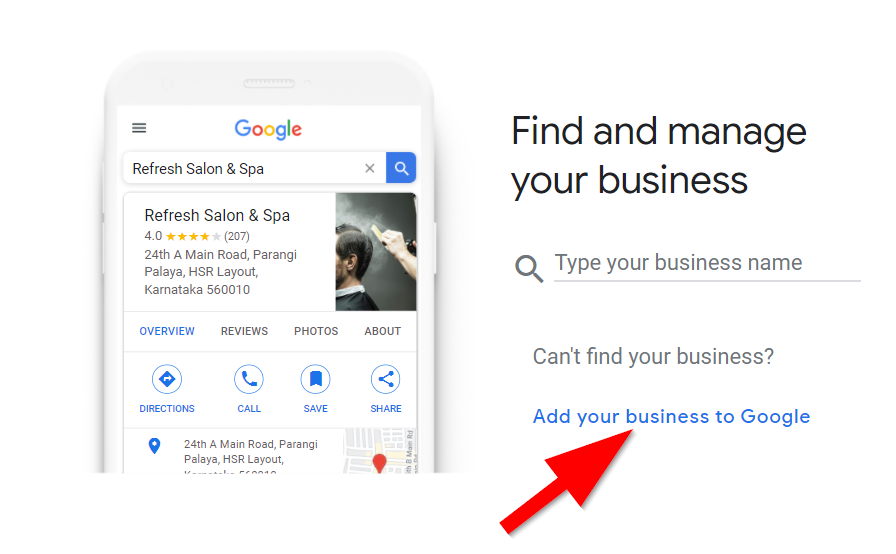 Google My Business page with a red arrow pointing to the letters add your business to google