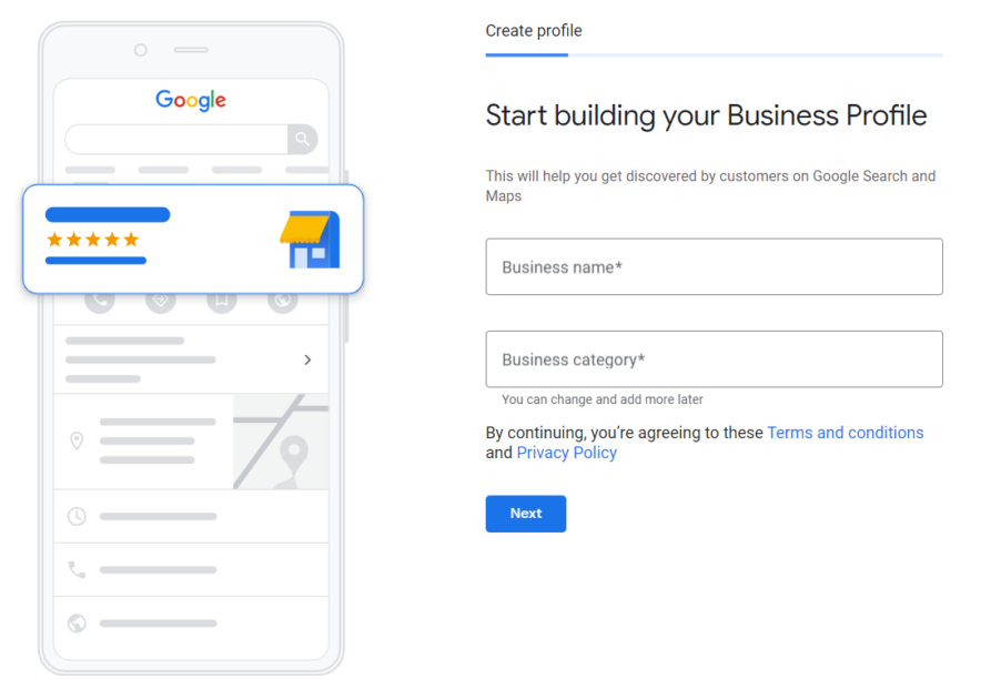 Google My Business page showing how to create a profile
