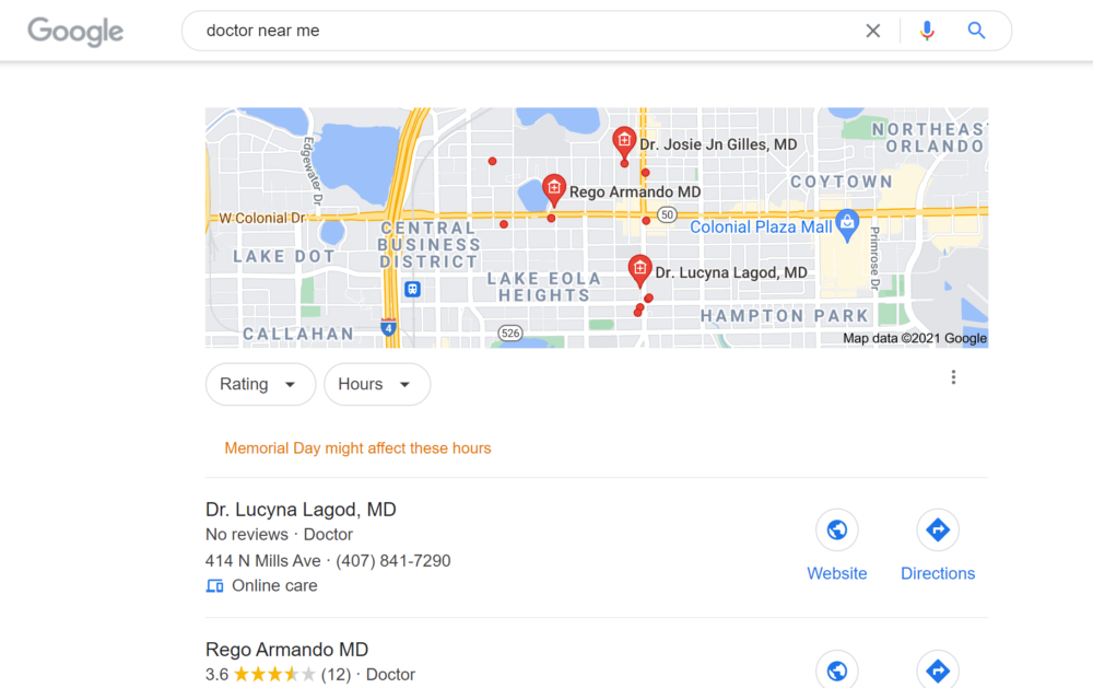 Doctor near me search results on Google