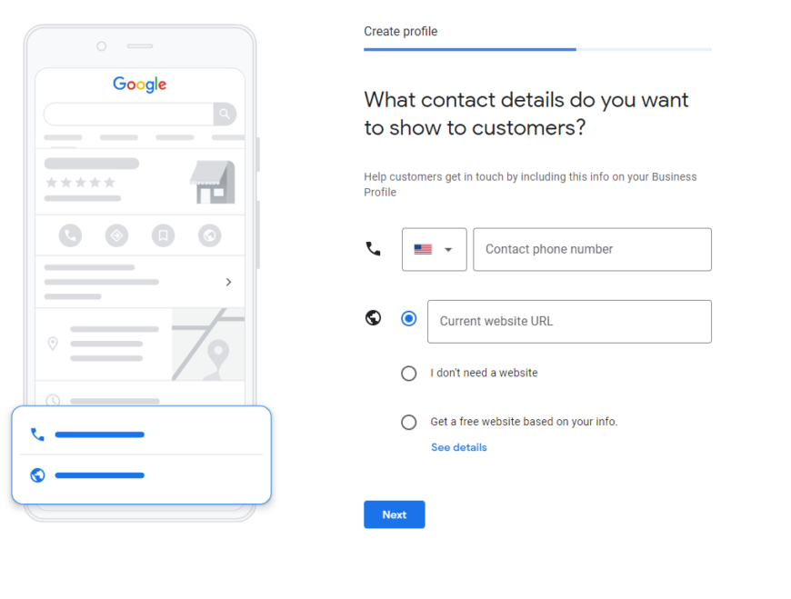Google My Business page asking for contact details
