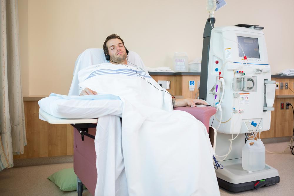 Patient sleeping in bed